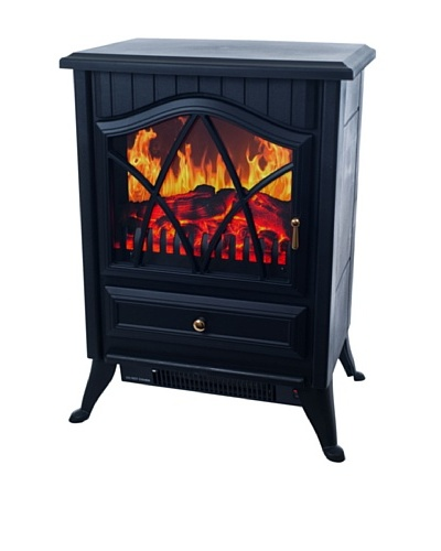 Warm House Retro Floor Standing Electric Fireplace, Black