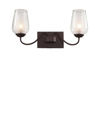 Trans Globe Lighting Eclectic Tempo Double Sconce, Rubbed Oil Bronze