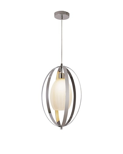 Trans Globe Lighting Harlequin Oval Pendant Light, Polished Chrome