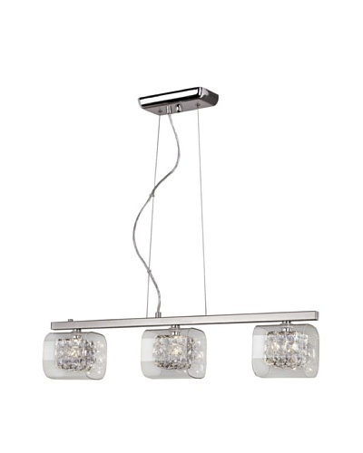 Trans Globe Lighting Glassed Cube 3-Light Island Pendant, Polished Chrome