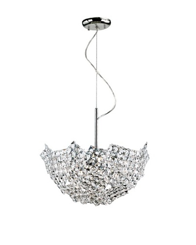 Transglobe Lighting Fragmented Crystal Basket Pendant, Polished Chrome