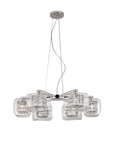 Trans Globe Lighting Glassed Cube 6-Light Propeller Pendant, Polished Chrome