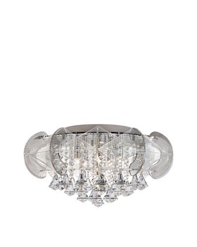 Trans Globe Lighting Flared Crystal 5-Light Flush-Mount Fixture, Polished Chrome