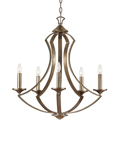 Trans Globe Lighting Silver Leaf 6-Light Chandelier, Antique Silver Leaf