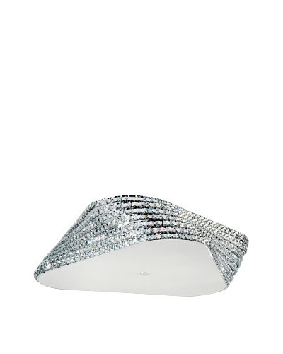 Trans Globe Lighting Crystal Gem Stone Flush-Mount Fixture, Polished Chrome