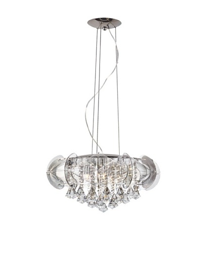 Trans Globe Lighting Flared Crystal 5-Light Pendant, Polished Chrome