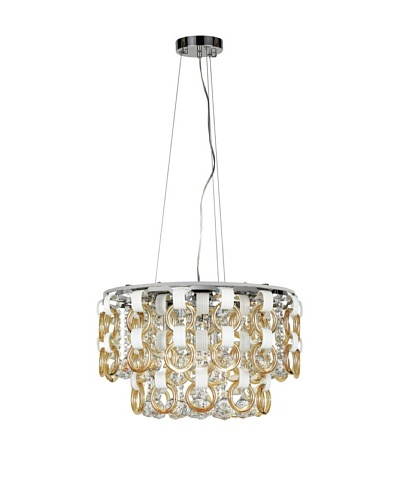 Transglobe Lighting Champagne and Crystal Pendant Light, Polished Chrome