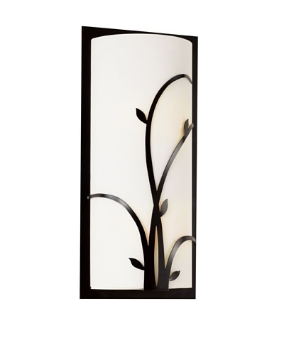 Trans Globe Lighting Large Opal Reed Wall Sconce, Black