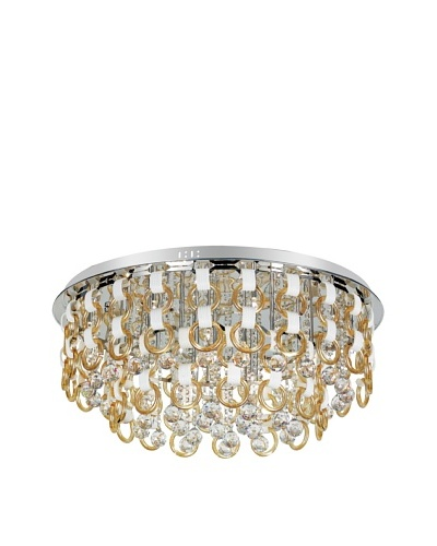 Trans Globe Lighting Champagne and Crystal Flush-Mount Fixture, Polished Chrome