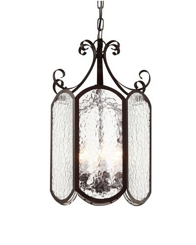"""Trans Globe Lighting Iced Glass 10"""" Foyer Pendant, Rubbed Oil Bronze"""