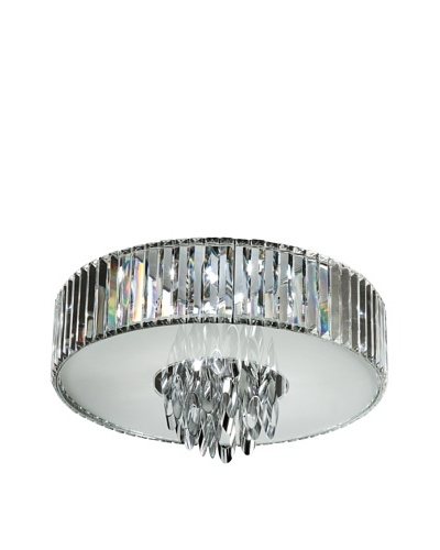 Trans Globe Lighting Chimes Crystal Flush-Mount Fixture, Polished Chrome