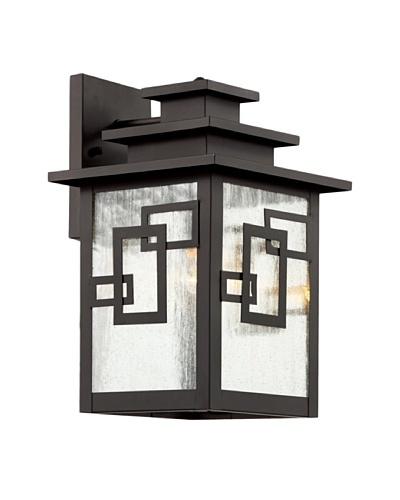 "Trans Globe Lighting Geo Tempo Wall Lantern, Weathered Bronze,14"""