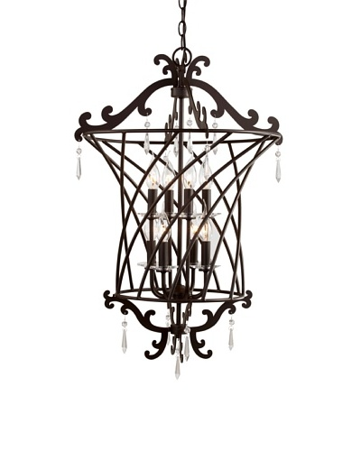 Trans Globe Lighting Basket Weaved 2-Tier Foyer Pendant, Rubbed Oil Bronze