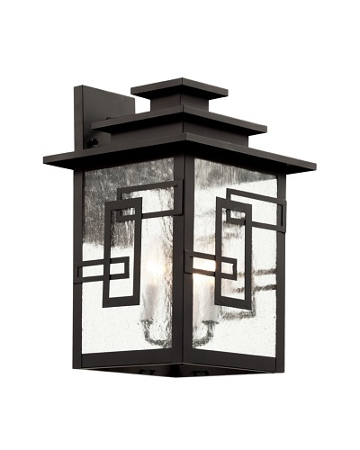 Trans Globe Lighting Geo Tempo Wall Lantern, Weathered Bronze, 17