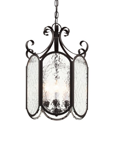 Trans Globe Lighting Iced Glass 18 Foyer Pendant, Black