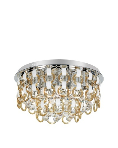 Transglobe Lighting Champagne and Crystal Flush-Mount Fixture, Polished Chrome