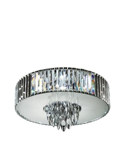 Trans Globe Lighting Chimes Crystal Flush-Mount Fixture, Polished Chrome