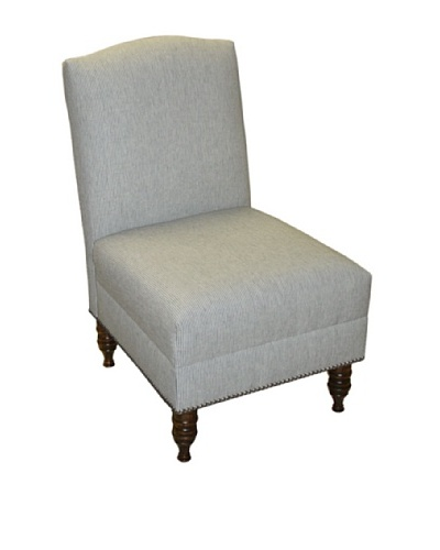 Skyline Pewter Nail Button Armless Chair, Charcoal Stripe
