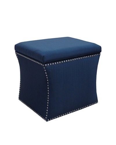 Skyline Pewter Nail Button Storage Ottoman, Navy