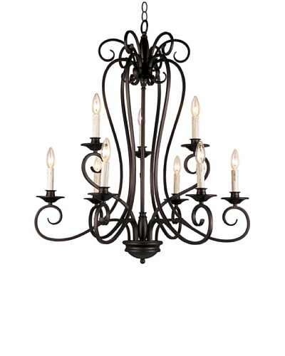 TransGlobe Garland 9-Light Chandelier, Oil-Rubbed Bronze