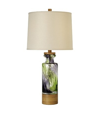 Trend Lighting Habitat Table Lamp, Cream/Matcha Green & Eggplant/Natural Maple