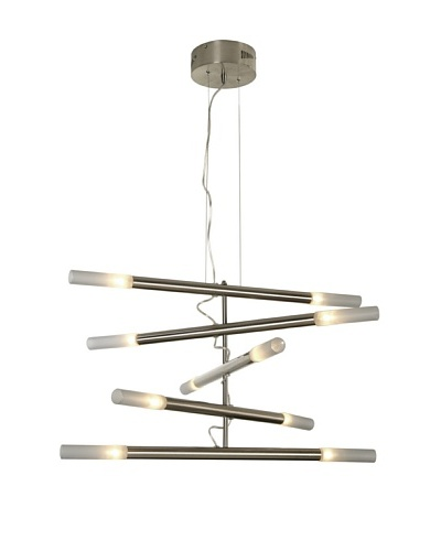 Trend Lighting Cavelleto 10-Light Chandelier, Satin Opal/Brushed Nickel