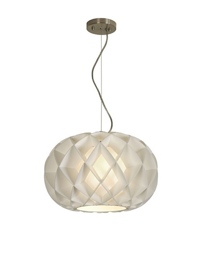 Trend Lighting Honeycomb Oval Pendant, White/Brushed Nickel