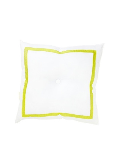 Trina Turk Ogee Embroidered Pillow, White/Citron, 18 x 18