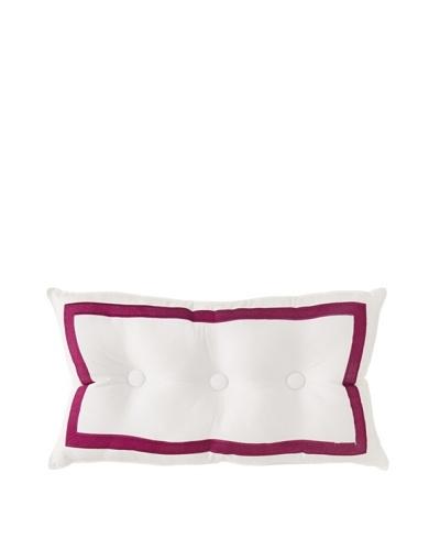 Trina Turk Chevron Dots Button Border Pillow, White/Fuchsia, 12 x 20