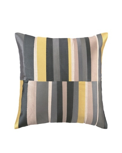 Trina Turk Watercolor Stripe Embroidered Pillow, Grey, 20 x 20