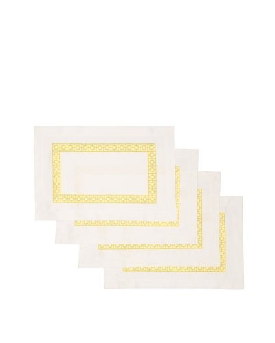 Trina Turk Set of 4 Palm Spring Blocks Embroidered Placemats [Yellow]