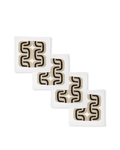 Trina Turk Set of 4 Geo Links Embroidered Cocktail Napkins