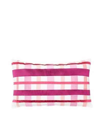 Trina Turk Chevron Dots Plaid Pillow, White/Fuchsia, 12 x 20