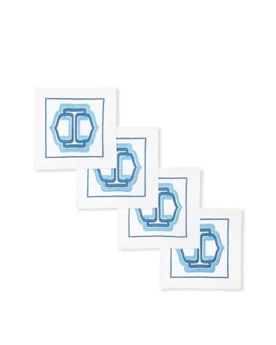 Trina Turk Set of 4 Ogee Embroidered Cocktail Napkins [Blue]