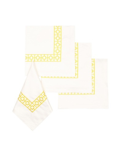 Trina Turk Set of 4 Palm Spring Blocks Embroidered Napkins