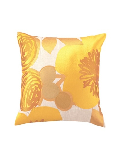 Trina Turk Multi Floral Embroidered Pillow, Yellow, 20 x 20