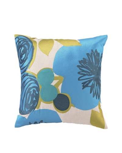 """Trina Turk Multi Floral Embroidered Pillow, Blue, 20"""" x 20"""""""