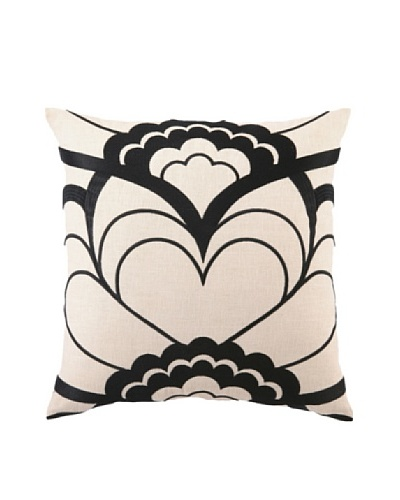 Trina Turk Deco Floral Embroidered Pillow, Black, 20 x 20