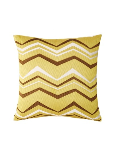Trina Turk Vintage-Stripe #3 Pillow, Off-White/Green-Gold, 18 x 18