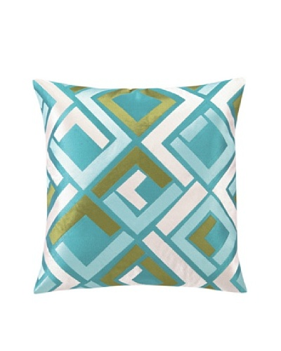 "Trina Turk Avenida Maze Embroidered Pillow, Blue, 20"" x 20"""