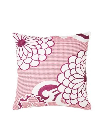 Trina Turk Chevron Dots Flower Pillow, White/Fuchsia, 20 x 20