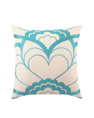 Trina Turk Deco Floral Embroidered Pillow, Blue, 20 x 20