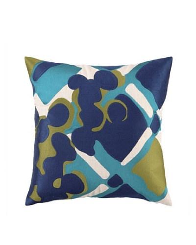 Trina Turk Painterly Plaid Embroidered Pillow