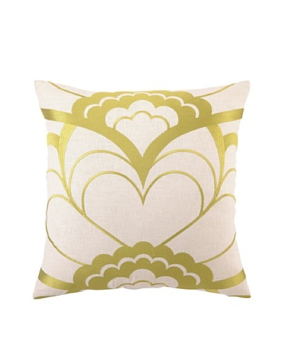 Trina Turk Deco Floral Embroidered Pillow, Citron, 20 x 20
