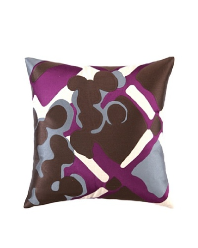 Trina Turk Painterly Plaid Embroidered Pillow [Purple]