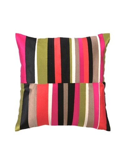 Trina Turk Watercolor Stripe Embroidered Pillow