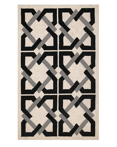 Trina Turk Geometric Tile Hook Rug [Black/Grey]