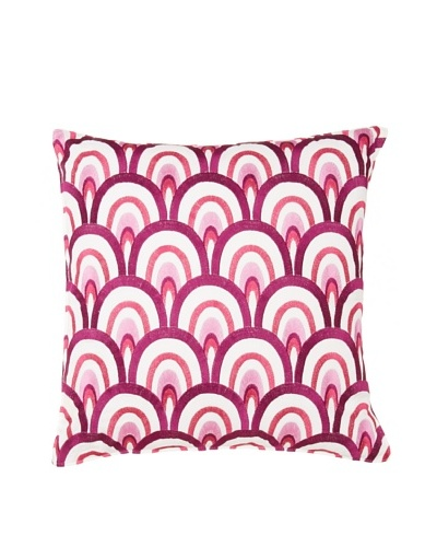 Trina Turk Chevron Dots Retro Pillow, White/Fuchsia, 18 x 18