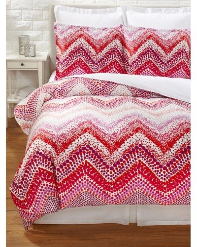 Trina Turk Chevron Dots Duvet Cover Set [White/Fuchsia]