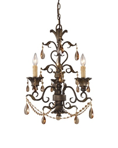 Trump Home Rochelle 3-Light Chandelier with Amber Crystal